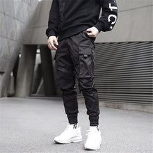 Load image into Gallery viewer, Cool Black Color Block Cargo Pants Men Harem Pants  Street Fashion Hip Hop Elastic Feet Joggers Harajuku Sweatpant Comfort Trousersa