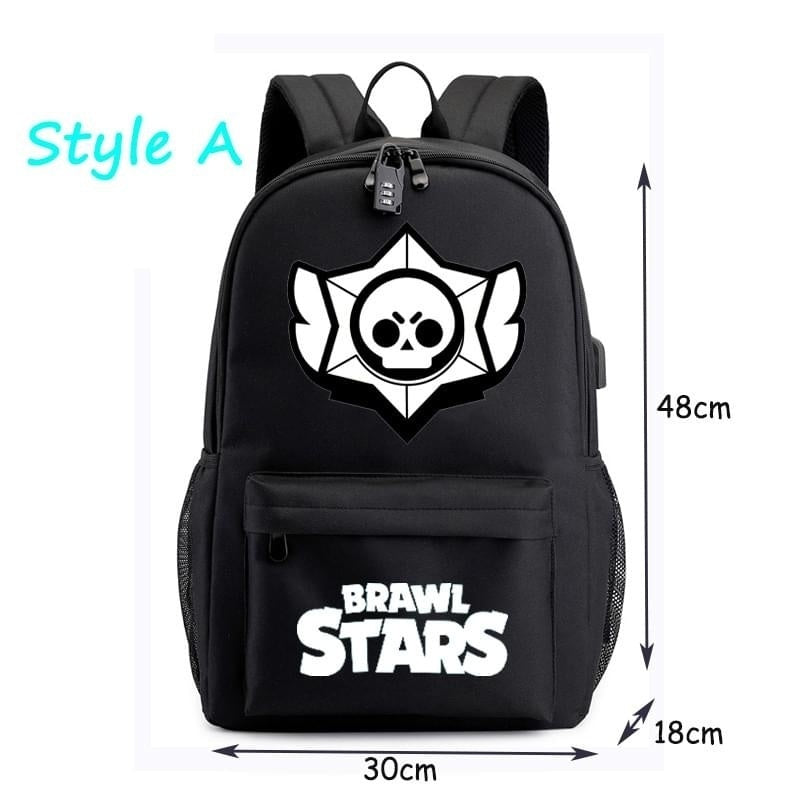 Brawl Stars School Bag with USB Charging Port Durable Bookbag Student Luminous Canvas Large Capacity Backpack for Teenagers Boys Girls
