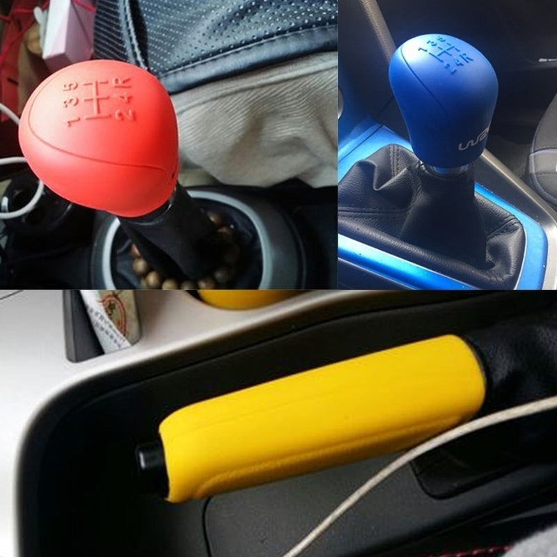 Universal Car Silicone Gear Head Shift Cover Gear Shift Collars Handbrake Grip Car Hand Brake Covers Case