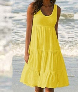Summer Women Fashion Solid Color Maxi Dress Sleeveless Vest Dress Pleated Dress Simple Dress S-XXL