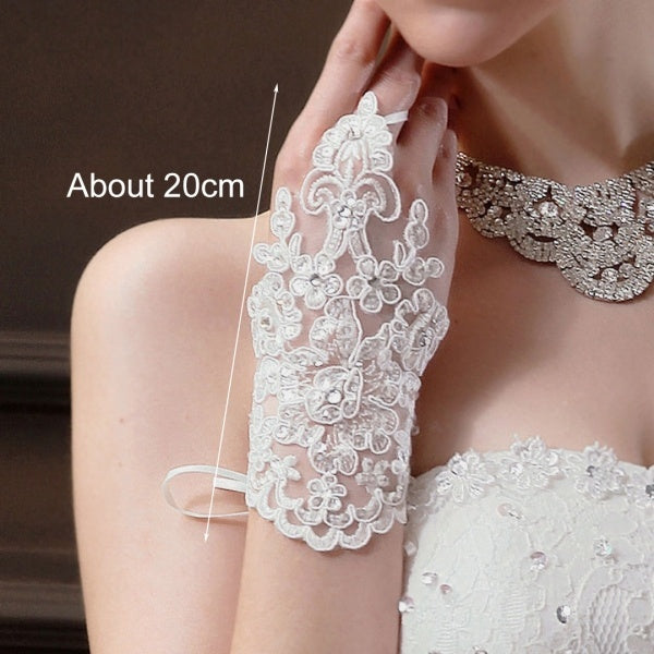 1 Pair Women Lace Fingerless Short Gloves Wedding Bridal Party Goth Prom Accessories