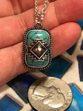 Antique Jewelry 925 Solid Sterling Silver Native American Cherokee Symbol Turquoise Diamond Howlite Pendant Charm (S925 STAMP)