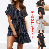 Women Summer Casual Wave Point Plus Size Dress