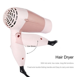 Mini Hair Dryer 1000W Hot Wind Low Noise Foldable Electric Hair Blower Blow Dryer Hair Salon Styling Tools for Travel Home Use IN