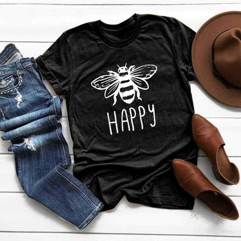 New Women Casual Summer Short Sleeve Fashion Bee Print Shirt Funny Graphic Cotton T-shirt