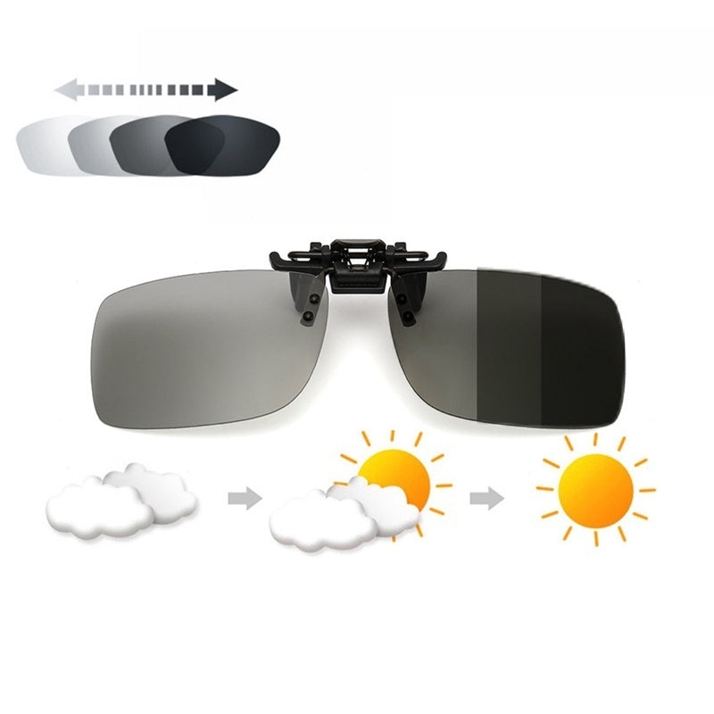 Transition Photochromic Polarized Clip On Sunglasses Driving Lens Anti-Uva Anti-Uvb Cycling Riding Sunglasses Clip