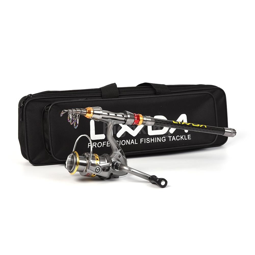 Lixada Telescopic Fishing Rod And Reel Combo Full Kit  Rod Pole + Spinning Fishing Reel + Fishing Tackle Carrier Bag Case Fishing Gear Set