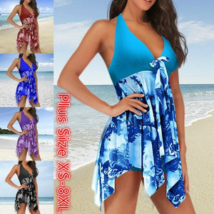 Women Printed Tankini Set Halter Asymmetric Hem Swimdress Padded Beachwear Push Up Plus Size Bikini Swimsuit swimwear
