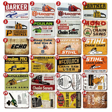 Load image into Gallery viewer, 24 Kinds of Chain Saw Metal Tin Signs Man Cave Garage Wall Decor ( 8'¡Á12' )