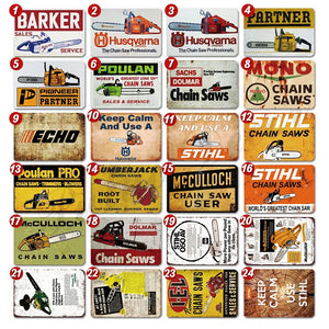 24 Kinds of Chain Saw Metal Tin Signs Man Cave Garage Wall Decor ( 8'¡Á12' )