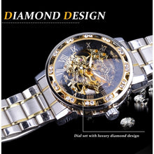 Load image into Gallery viewer, Winner Luxury Gold Transparent Diamond Design Fashion Luminous Hands Mechanical Steampunk Stainless Steel Business Automatic Skeleton Wrist Watches+Box