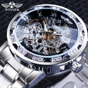Winner Luxury Gold Transparent Diamond Design Fashion Luminous Hands Mechanical Steampunk Stainless Steel Business Automatic Skeleton Wrist Watches+Box