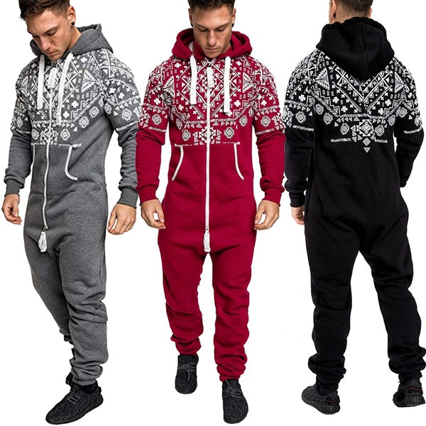 Men's Warm Fluffy Sleep Casual Christmas Pajamas One-piece Pajamas Men's Jumpsuit Hooded Jumpsuit Pajamas Tracksuit