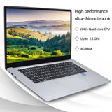 15.6 Inch Gaming Laptops Intel J3455 Quad Core 1080P Netbook Computer  8GB RAM 64GB/128GB/256GB SSD Laptop Computer