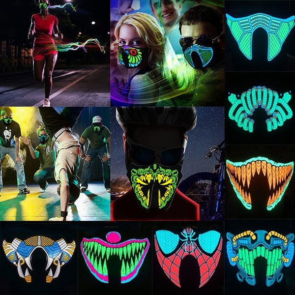 LED Glowing Music Mask Sound Reactive Mask to The Music Party Festival Party Supply
