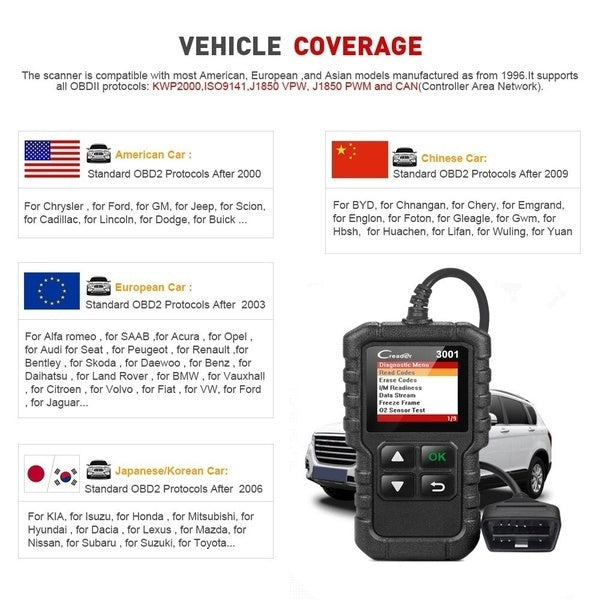 CR3001/C26 OBD2 Auto Car Diagnostic Scanner Tool Code Reader Scanning Machine