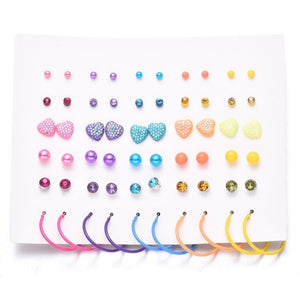 30 pair Exquisite color love pearl heart infinity earrings set ladies gold-plated ring earrings ladies accessories
