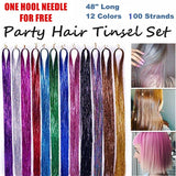 100+ Strands 48 Inches Hair Tinsel Extensions 13 Colors Set Sparkling & Shiny Fairy Hair Dazzle Glitter Extensions Heat Resistant Synthetic Multi-Colors Party Highlights Bling Hairpiece Kit