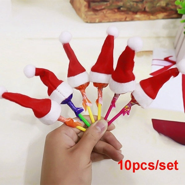 10 Pcs/Set Mini Christmas Lollipop Cap Christmas Decorations For Party Decor