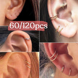 60/120Pcs/bag Simple Circle Small Hoop Earrings Set Nose Rings Hoop Vintage Punk Personality Lip Ring Ear Nose Piercing Jewelry Set Accessories Gift