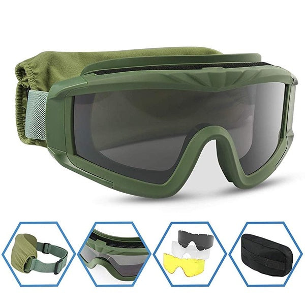 Airsoft Goggles Tactical Safety Goggles Anti Fog Military Glasses with 3 Interchangeable Lens for Paintball Riding Shooting Hunting Cycling