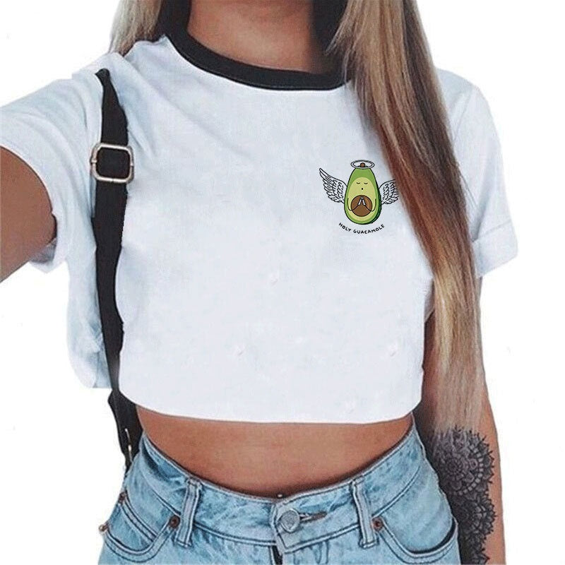 7 women's short-sleeved avocado Navel T-shirt top casual O-neck funny avocado print T-shirt summer vest slimming size