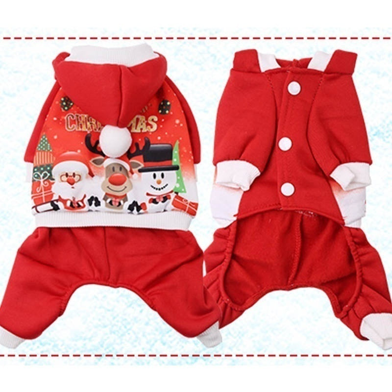 Cute Christmas Pet Decor Pet Cat Dog Clothes Small Dogs Autumn and Winter Warm Coat Jackets Soft Cotton Sweater Pet Clothing XS-XXL