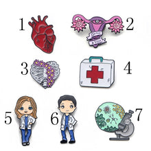 Load image into Gallery viewer, O13 1 Pcs Grey Anatomy Doctors Jewelry Enamel Pins Metal Collar Pins Brooches for Women Brooch Lapel Pin Badge