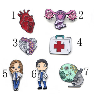 O13 1 Pcs Grey Anatomy Doctors Jewelry Enamel Pins Metal Collar Pins Brooches for Women Brooch Lapel Pin Badge