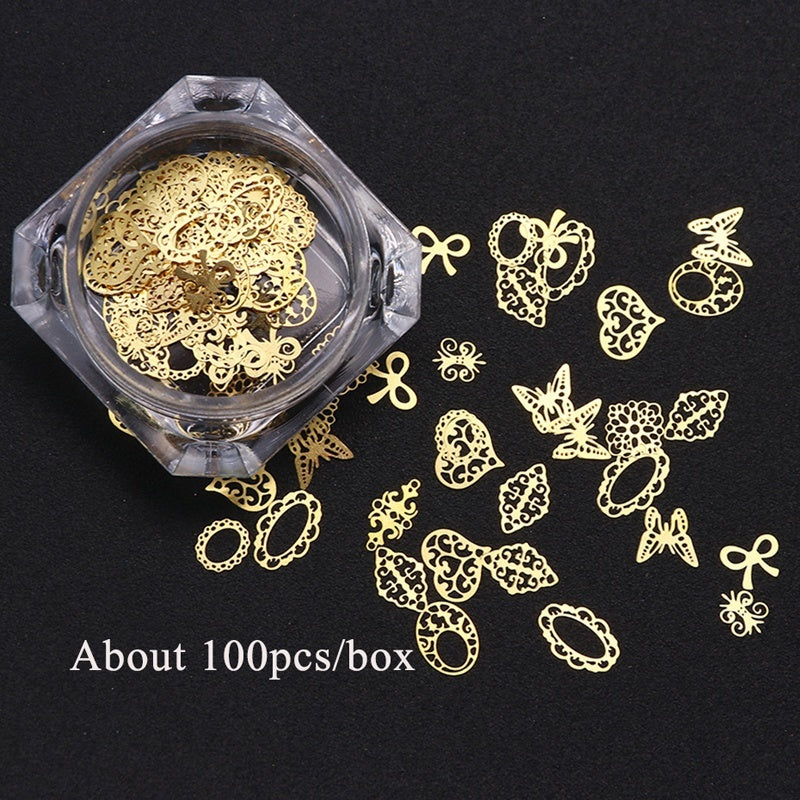 100pcs/box 3D Gold Metallic Slice Sequin Mixed Design Flower Butterfly Charms Nail Art Decoration DIY Hollow Manicure Decor