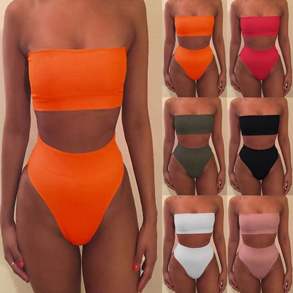 High Waist Swimsuit 2019 Sexy Bikini Women Sexy Swimwear Off Shoulder Crop Top Bodycon Lingerie Set 2 Piece Outfits Plus Size Bottom Bikini Set Bathing Suits