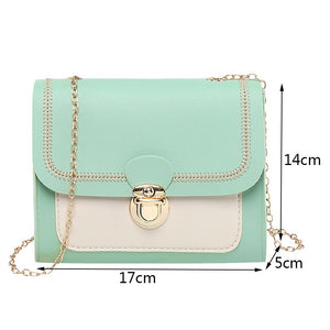 Chains PU Leather Crossbody Bags for Women Small Shoulder Messenger Bag Female Handbags