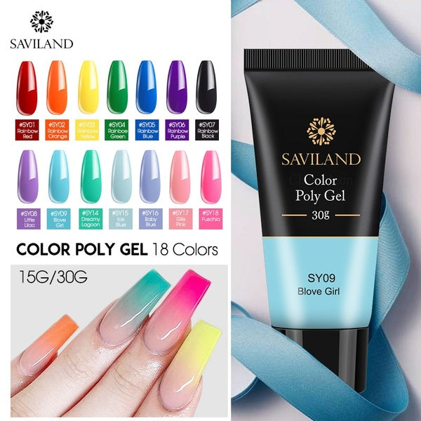 Saviland New 15g/30g Colors Poly Gel Nail Extension Red Blue Yellow Polygel Nail Gel Camouflage UV Hard Gel Polish Fast Builder Gel
