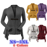 6 Colors Winter Coat Women V-neck Jacket Casual Long Sleeved Cardigan Sweater Jacket Belt Coat Irregular Hem Knitted Sweater Plus Size XS-3XL