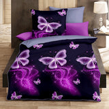 MCKR-JK Luxury Butterfly Printed Home Living 2/3Pcs Comfortable Duvet Cover Set Pillow Case Bedding Sets(Baby/Single/Twin/Double/Full/Queen/King)