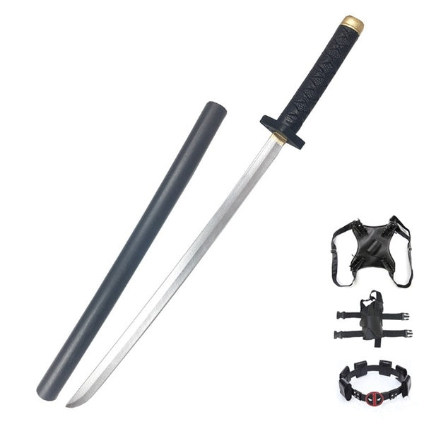 Popular Cosplay Props Ninja Samurai Sword with Scabbard PU Foaming Twin Katana Swords Set Over the Back Harness Back Strap for Dual Swords Halloween Costume Accessories
