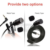 Portable Audio Lavalier Lapel Microphone 3.5mm Mini Clip Condenser Mic For PC Laptop Smartphones 1.2M (Two Types )