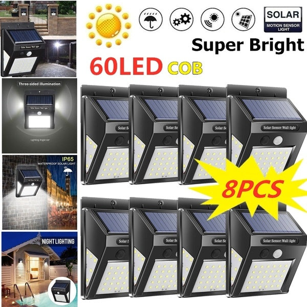 4/6/8PCS Solar Wall Lamps 30/40LED Outdoor PIR Motion Sensor Night Light IP65 Waterproof Security Lights for Garden Yard Patio Pathway