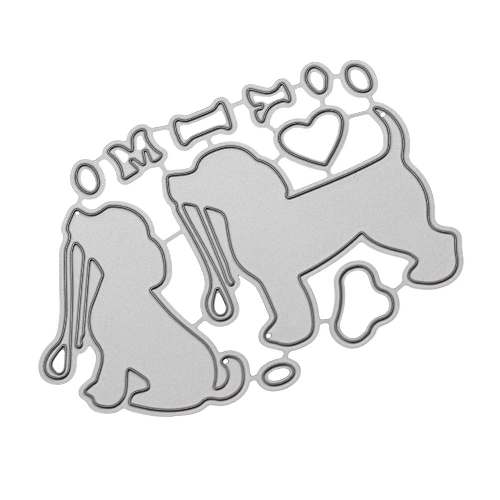 2Pcs/Set Dog Metal Cutting Dies Stencil DIY Scrapbooking Album Photo Stamp Paper Card Embossing Craft Decor