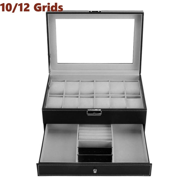 10/12 Grids Watch Case Jewelry Display Box Organizer Dual Layer Glass Top Holder BG