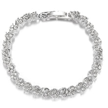 Load image into Gallery viewer, Heart-shaped diamond-inlaid silver-plated Roman Bracelet Fashion engagement jewelry in Europe and America