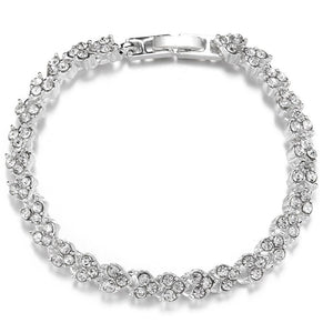 Heart-shaped diamond-inlaid silver-plated Roman Bracelet Fashion engagement jewelry in Europe and America