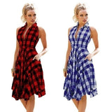 Sleeveless Plaid Shirtdress Vintage Dress Women Fashion Summer Knee-length Shirts Dress Party Dress