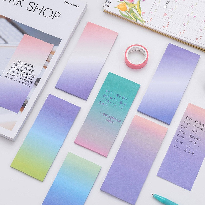 Creative Gradient Light Color N-Times Sticker Note Can Tear the Message Note Post-it School Office Stationery 6 Colors