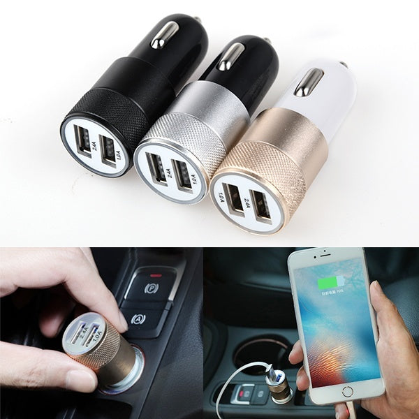 1/2/5PCS 2-Ports Dual Double USB Universal Car Charger Metalic Alloy Shell for iPhone/iPad/iPod/Samsung