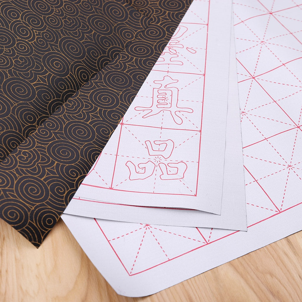 No Ink Magic Water Writing Cloth Brush Gridded Mat Chinese Calligraphy Practice Practicing Intersected Figure Set MTY