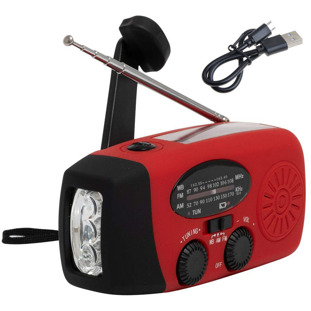 Emergency Solar Radio Hand Crank AM/FM/WB Radios For Weather LED Flashlight USB Rechargeable