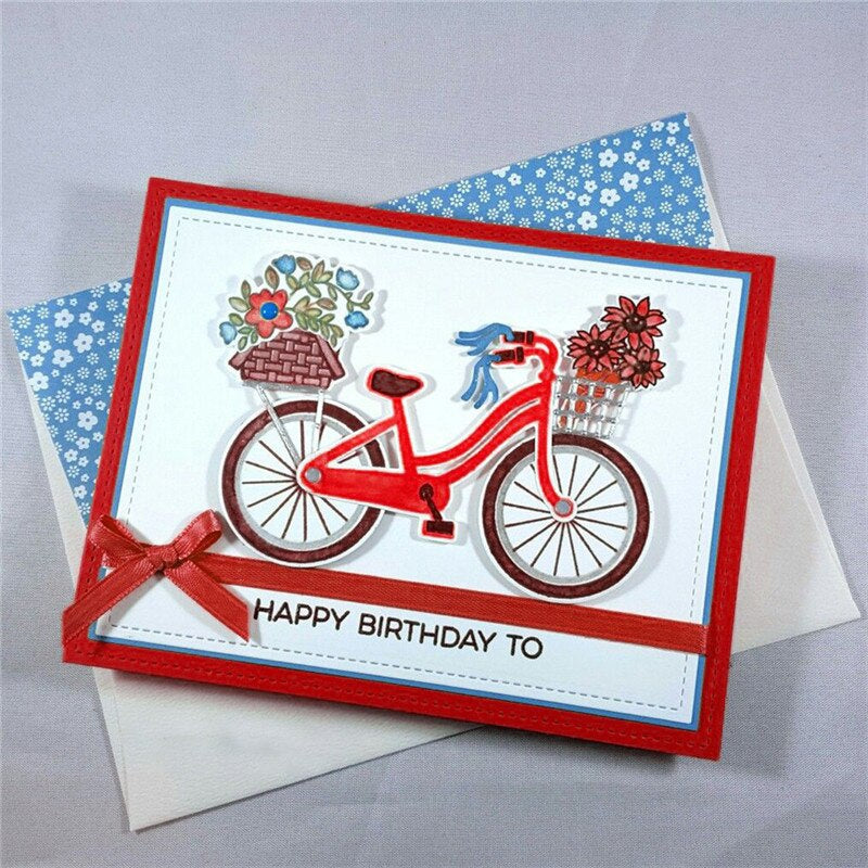 4.8x4inch Bicycle Flower Clear Stamp and Dies Set Die Cuts Metal Cutting Die for Scrapbooking Card Making
