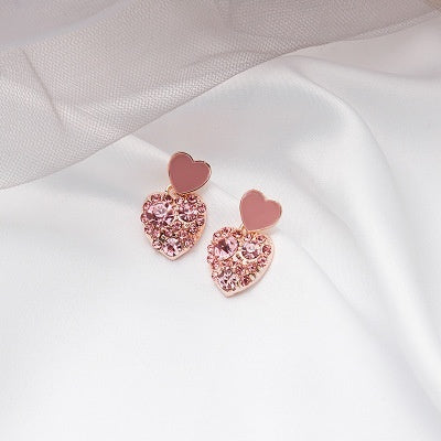 925 Sterling Silver Mini Heart Shape Diamond Stud Earrings for Women Silver Love Heart Earrings for Bridal Wedding Gifts Fine Jewelry