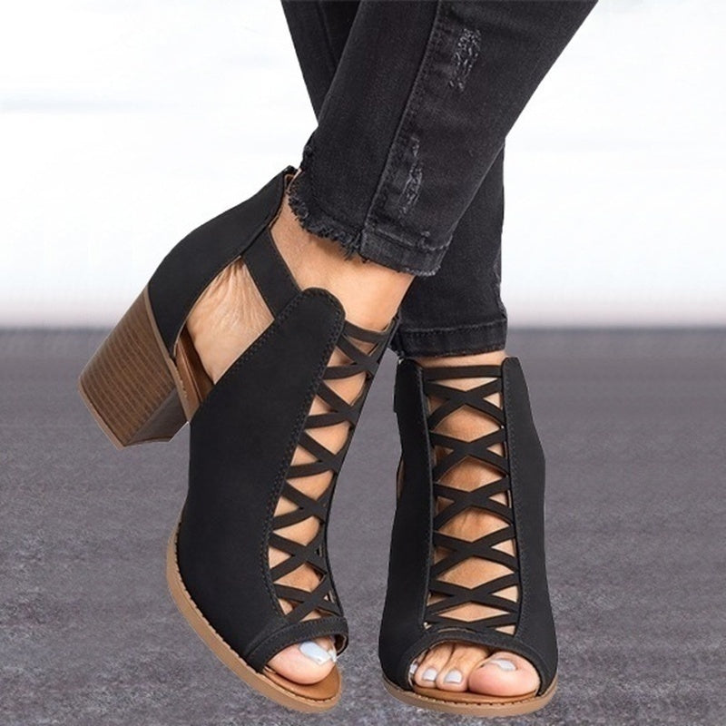 Women's Fashion New Shelves Summer Fashion Solid Color Hollow Toe Wide with High Heel Sandals Sexy Casual Dress Women's Shoes Shoes Size 34-43